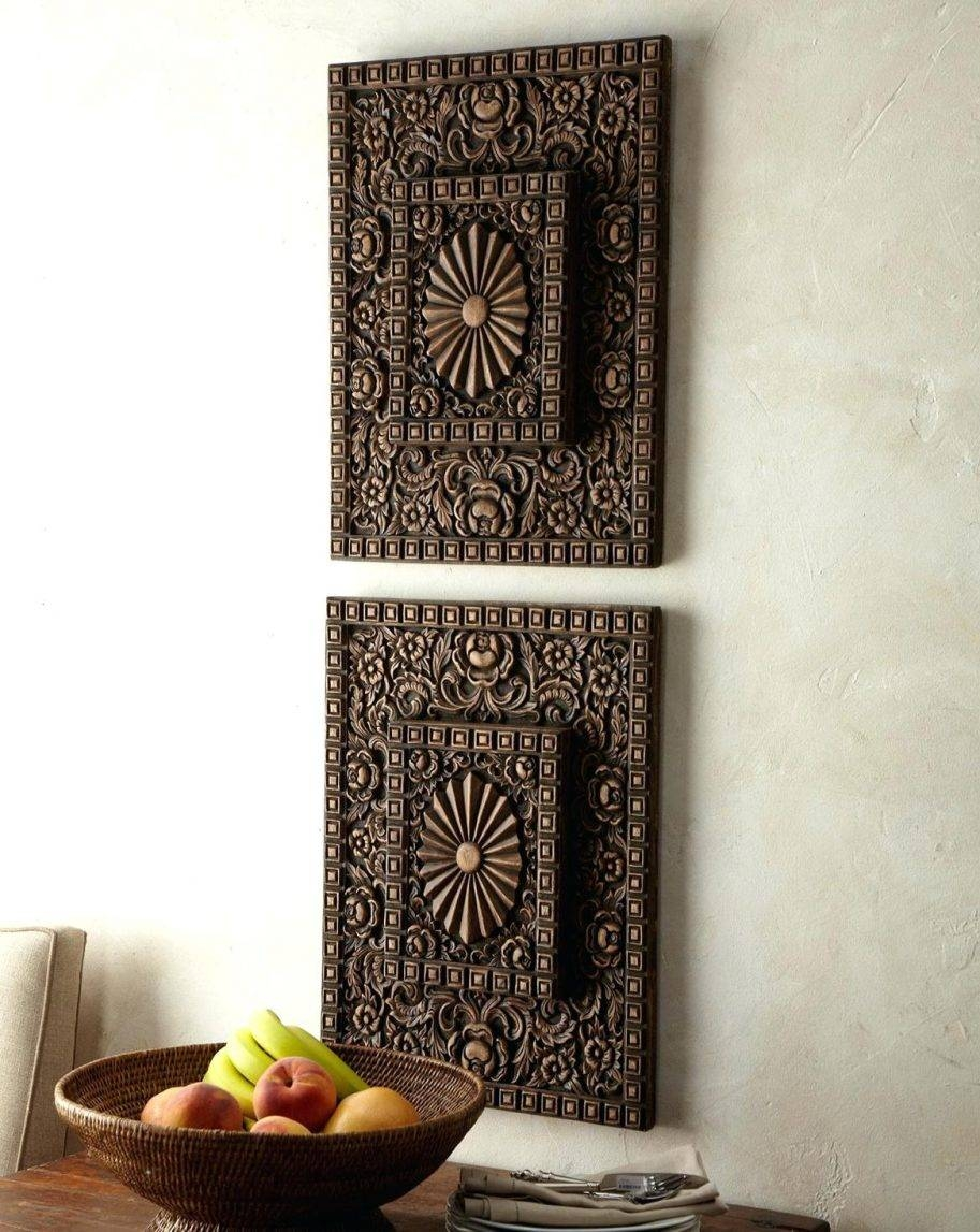 Outstanding Carved Wood Wall Decor Home Design Art India White Uk throughout Most Current White Wooden Wall Art