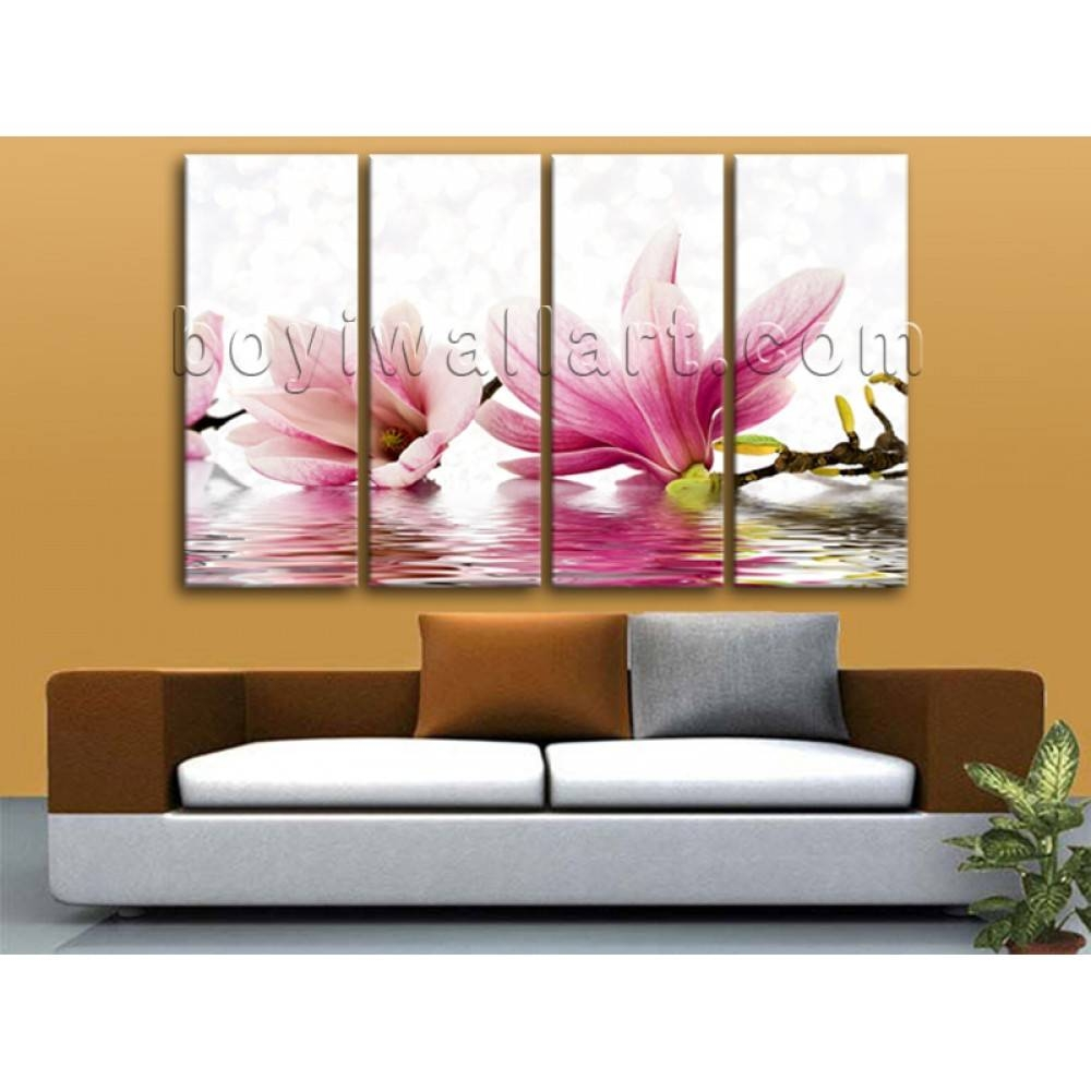 Oversized Beautiful Flowers Flower Wall Art Living Room 4 Pieces Print Intended For Most Recent Oversized Modern Wall Art (Gallery 4 of 20)