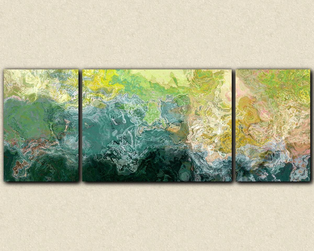 Oversized Triptych Abstract Art 30x80 To 34x90 Canvas Print Throughout 2018 Blue And Green Wall Art (View 5 of 20)