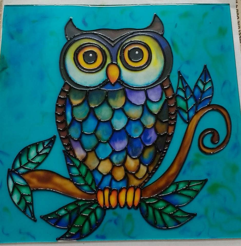 Owl Glass Painting – Framed Wall Art – Curators Of Contemporary In 2017 Owl Framed Wall Art (View 12 of 20)