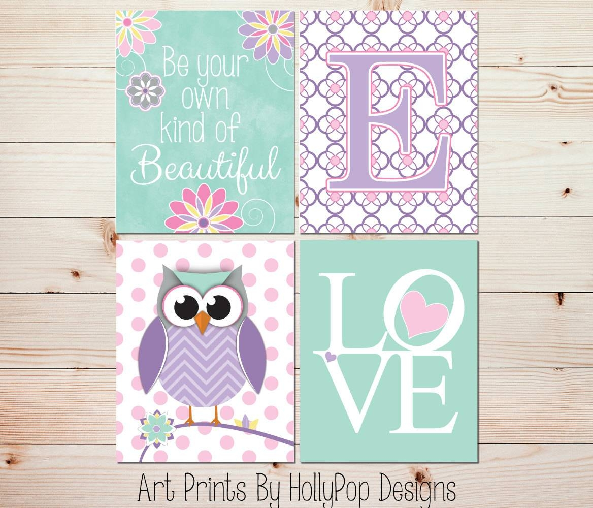 Owl Nursery Art Toddler Girls Room Wall Art Baby Girl Nursery With Most Popular Wall Art For Girls (View 2 of 20)