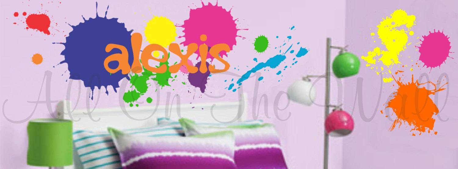 Paint Splatters Wall Decals Name Decal Boy Bedroom Girl Regarding Best And Newest Graffiti Wall Art Stickers (View 16 of 30)