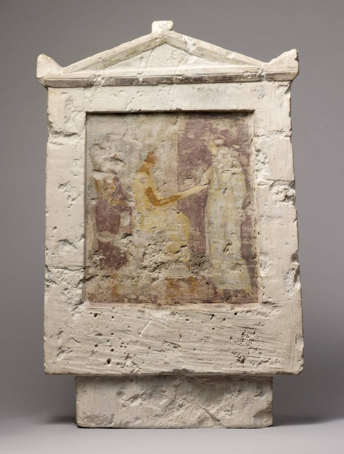 Painted Limestone Funerary Stele With A Seated Man And Two In Most Up To Date Greek Wall Art (View 17 of 20)