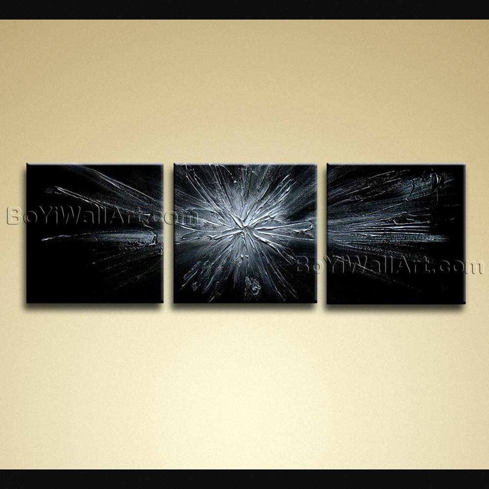Painted Modern Abstract Painting On Canvas Wall Art 3 Pieces Grey Pertaining To Best And Newest Abstract Canvas Wall Art (View 16 of 20)