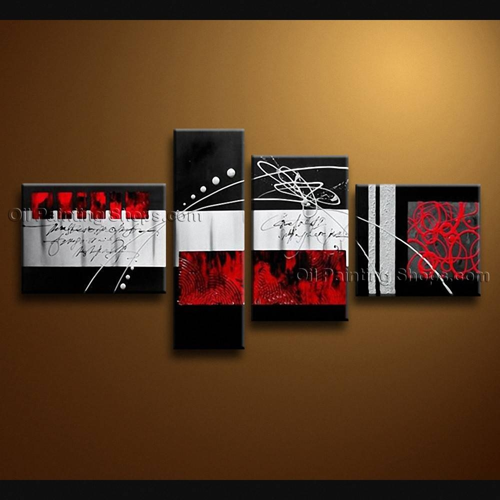 Painted Tetraptych Modern Abstract Painting Wall Art Decoration Ideas With Regard To Most Current Abstract Wall Art (View 9 of 15)