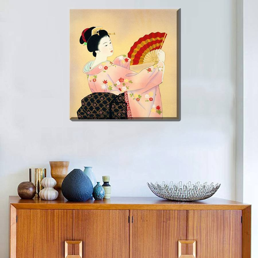 Painting Geisha Kabuki Natori Japan Print Canvas Classic Kimono For Current Geisha Canvas Wall Art (View 16 of 20)