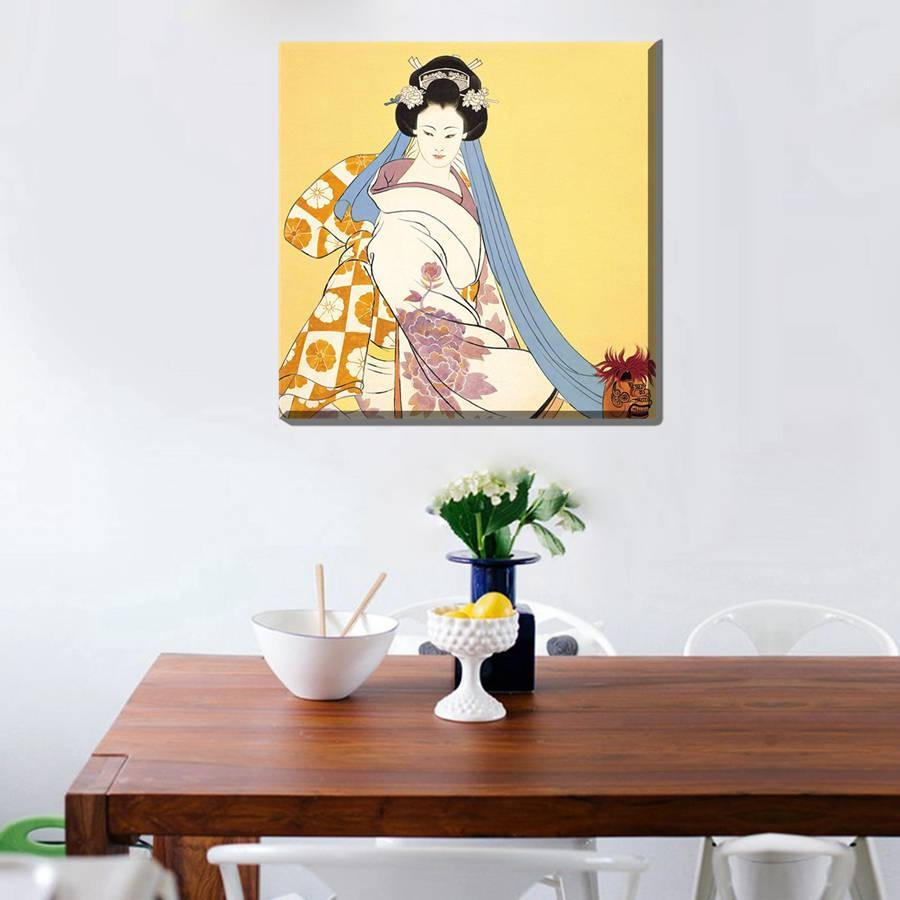 Painting Geisha Kabuki Natori Japan Print Canvas Classic Kimono Intended For Most Recent Geisha Canvas Wall Art (View 17 of 20)