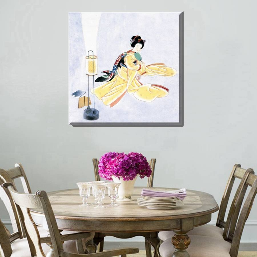Painting Geisha Kabuki Natori Japan Print Canvas Classic Kimono With Regard To Recent Geisha Canvas Wall Art (View 18 of 20)