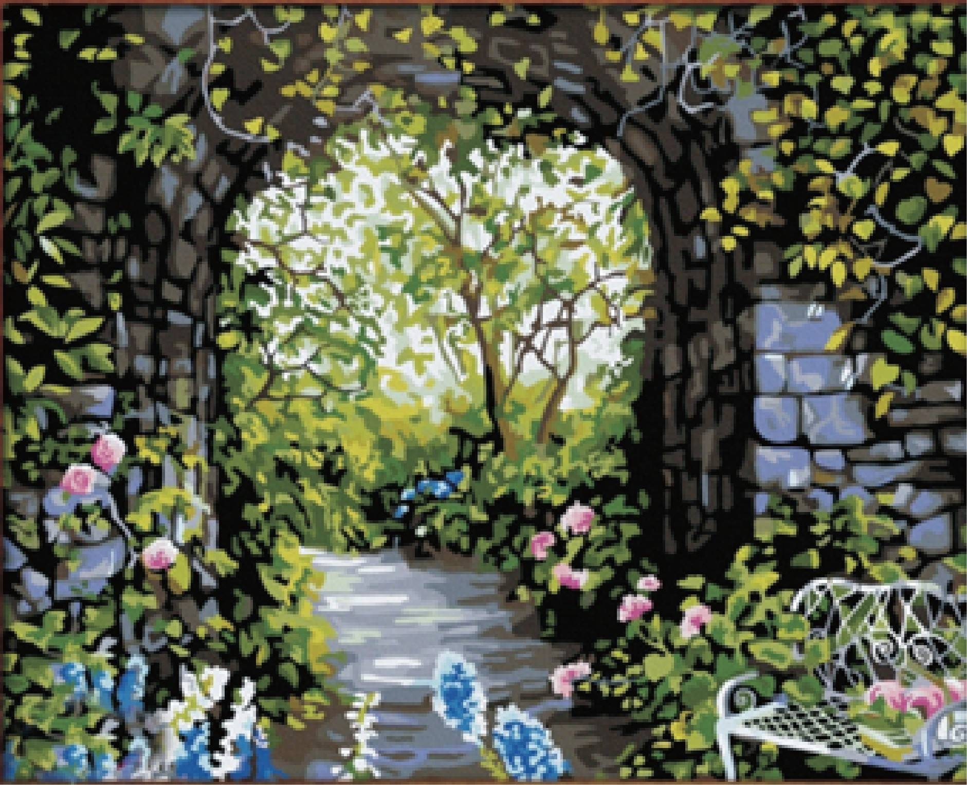 Painting Scenery Digital Canvasnumbers Picture Decor Diy Oil With Regard To Best And Newest Diy Garden Wall Art (View 10 of 25)