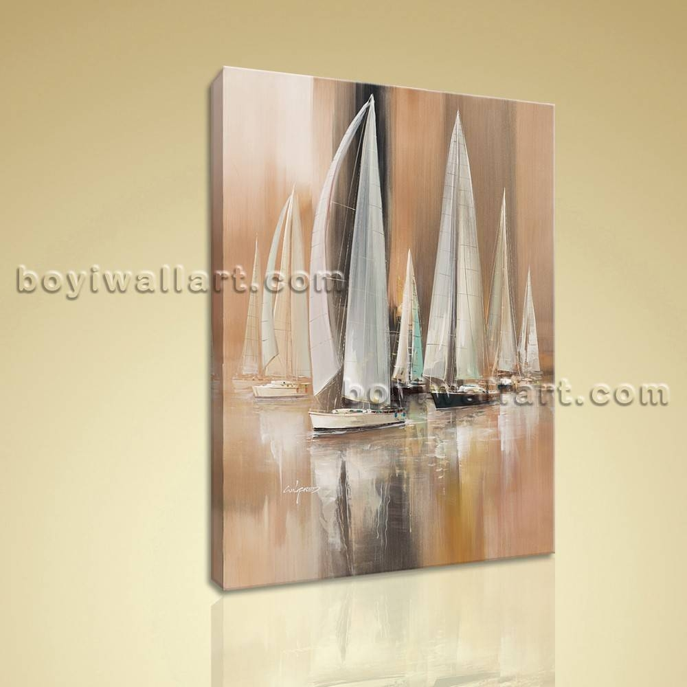 Painting Seascape Hd Print Canvas Wall Art Sailing Boat Abstract With Best And Newest Boat Wall Art (View 13 of 20)