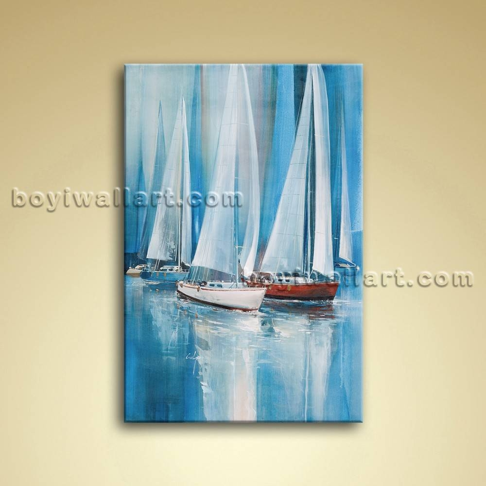 Painting Seascape Oil Canvas Wall Art Sailing Boat Abstract Intended For Recent Boat Wall Art (View 16 of 20)