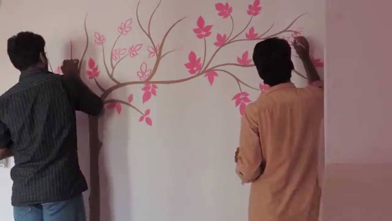 Painting Tree On Wall – Youtube Pertaining To Latest Painted Trees Wall Art (View 14 of 20)
