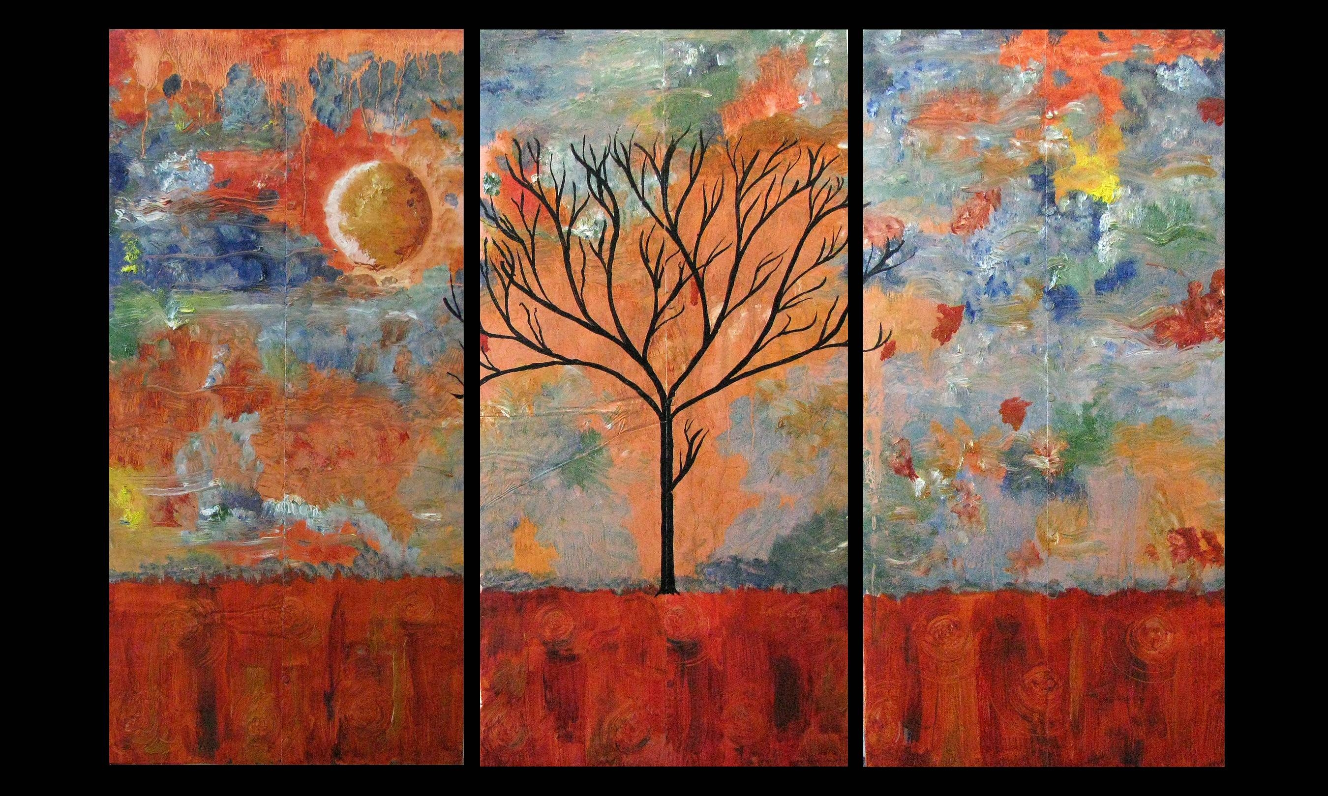 Paintings For Sale | Abstract Triptych Landscape Copper Painting With Latest Triptych Art For Sale (View 4 of 20)