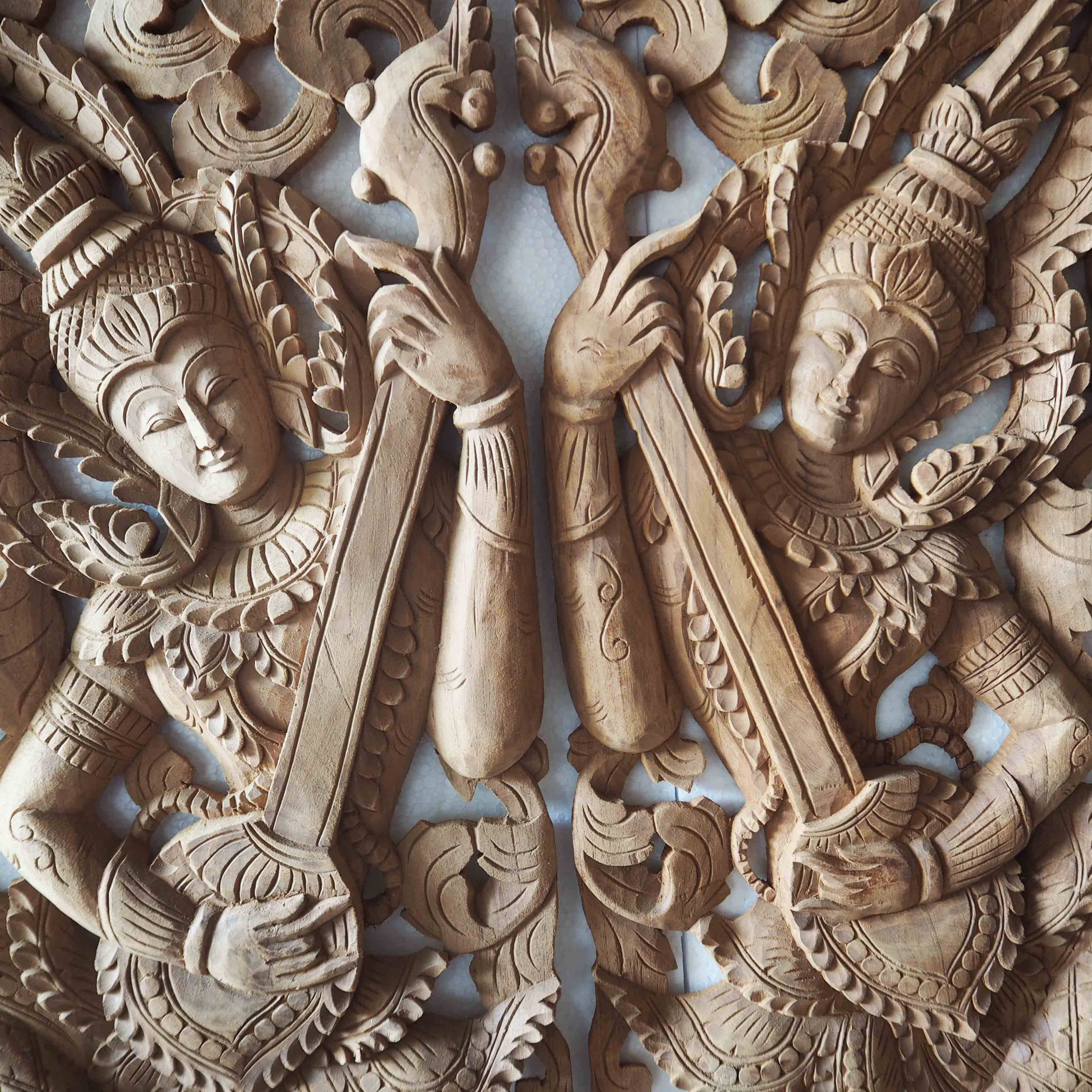 Pair Of Wooden Wall Art Panel From Thailand – Siam Sawadee In Most Popular Wood Wall Art Panels (View 12 of 20)