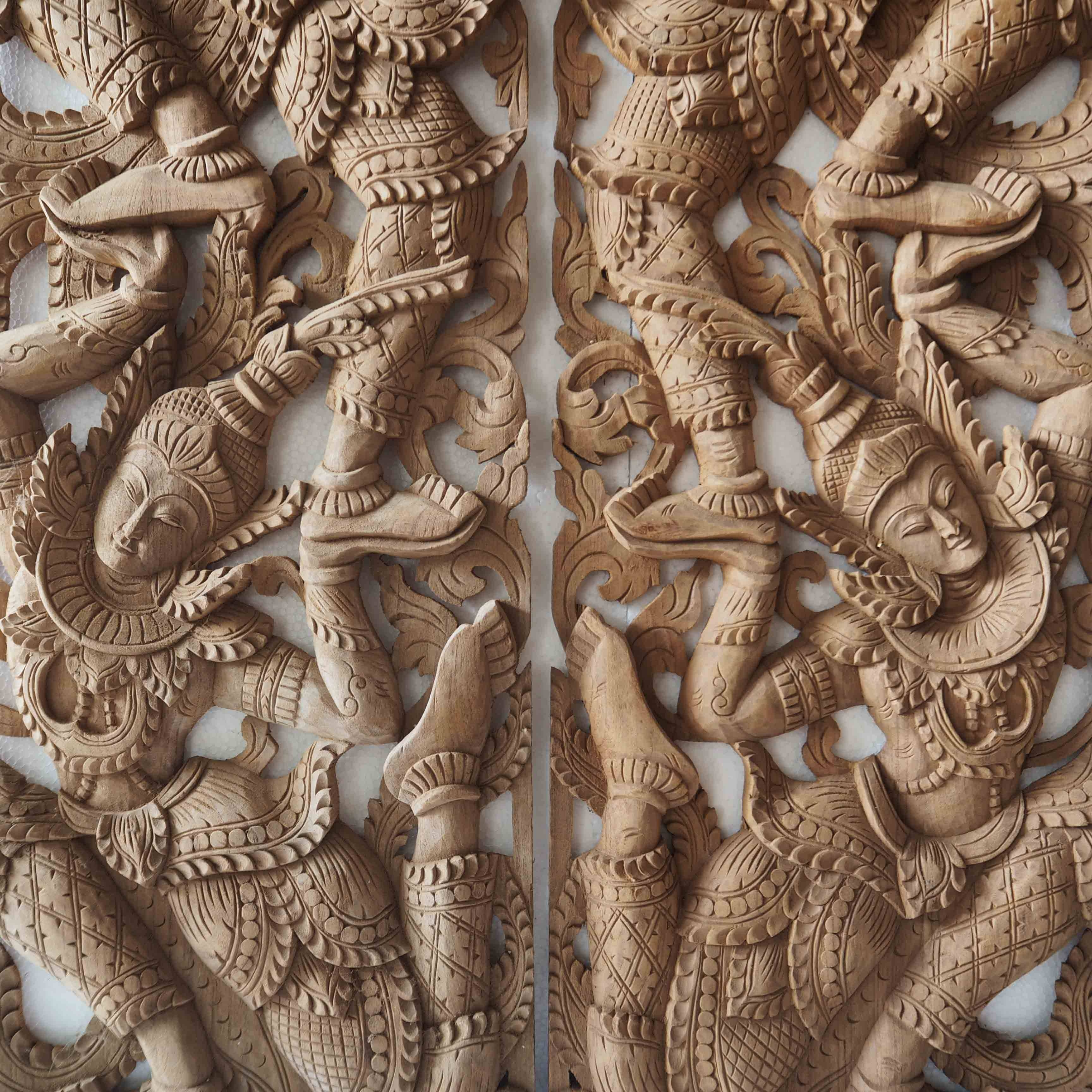 Pair Of Wooden Wall Art Panel From Thailand – Siam Sawadee Throughout Most Up To Date Asian Wall Art Panels (View 8 of 20)