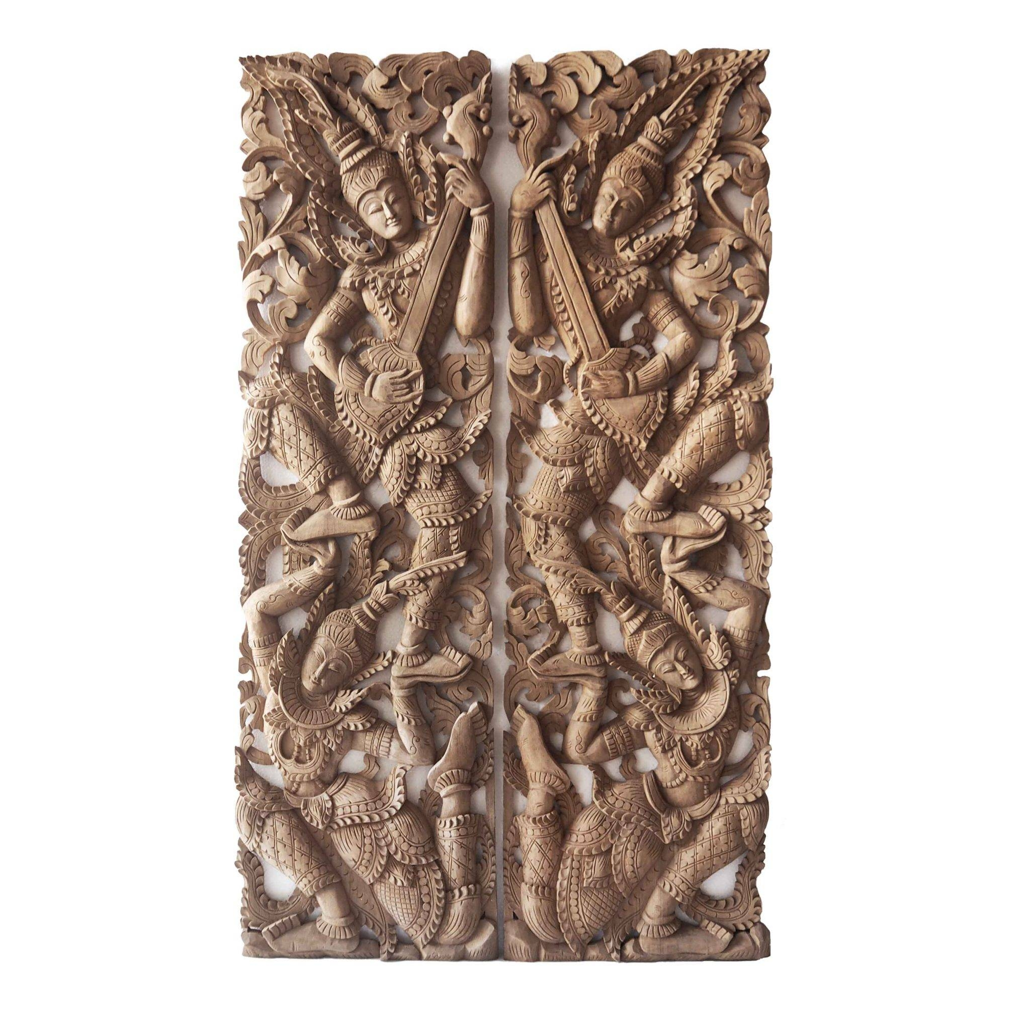 Pair Of Wooden Wall Art Panel From Thailand – Siam Sawadee Within Best And Newest Wooden Wall Art Panels (View 5 of 20)