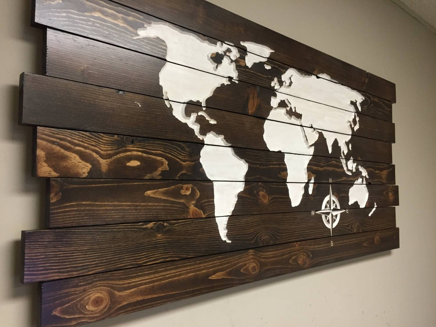 Pallet Sign World Map Carved Wood Wall Art Home Decor At Inside Most Recently Released World Map Wood Wall Art (View 12 of 20)