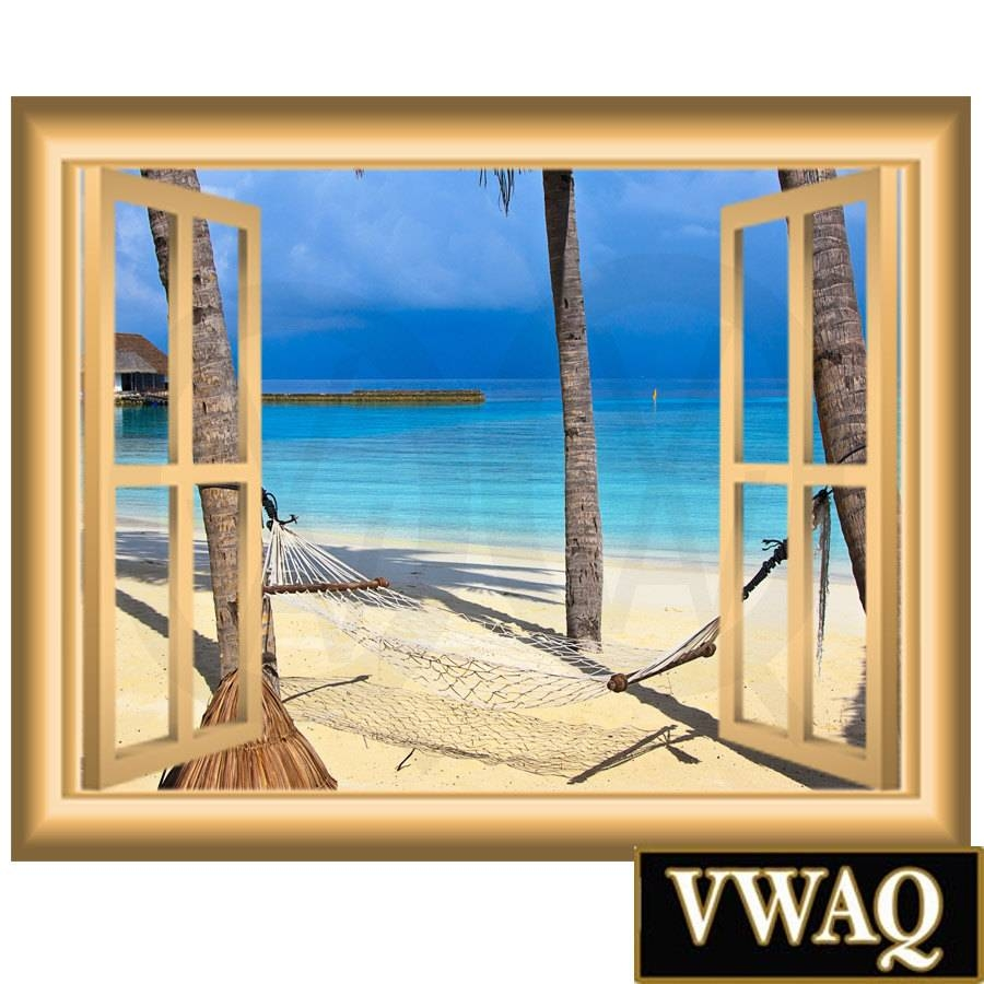 Palm Trees Beach Scene Window Porthole Peel And Stick 3D Window For Recent Beach 3D Wall Art (View 17 of 20)