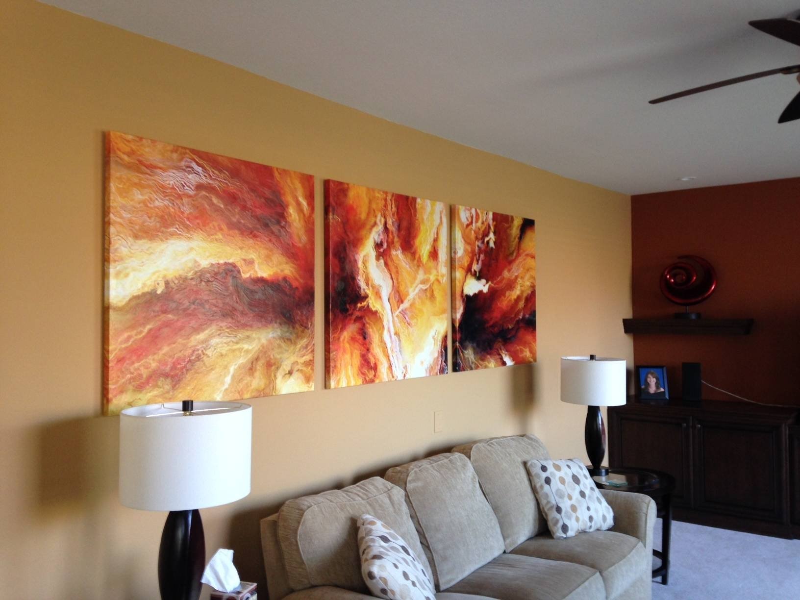 Panel Large Abstract Painting Art Canvas Print Triptych Living Room Pertaining To Most Popular Large Triptych Wall Art (View 15 of 20)