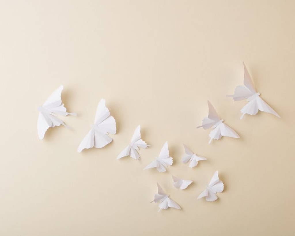 Paper Butterflies: 3D Butterfly Wall Art For Hipandclavicle White Pertaining To Newest White 3D Butterfly Wall Art (View 18 of 20)