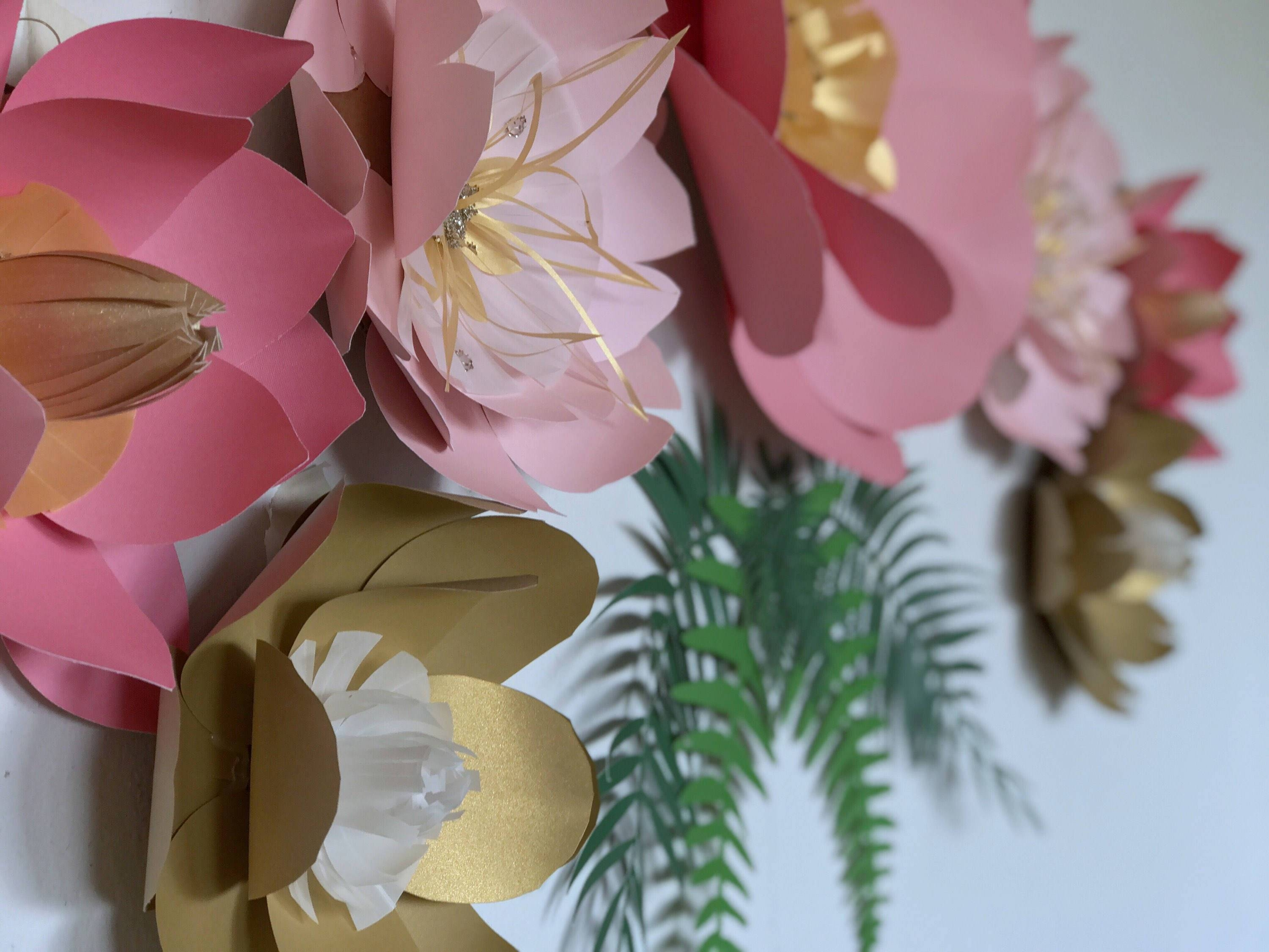Paper Flowers Decor, Girl Nursery Flower Wall Decor, Flower Wall Within Newest 3D Flower Wall Art (View 12 of 20)