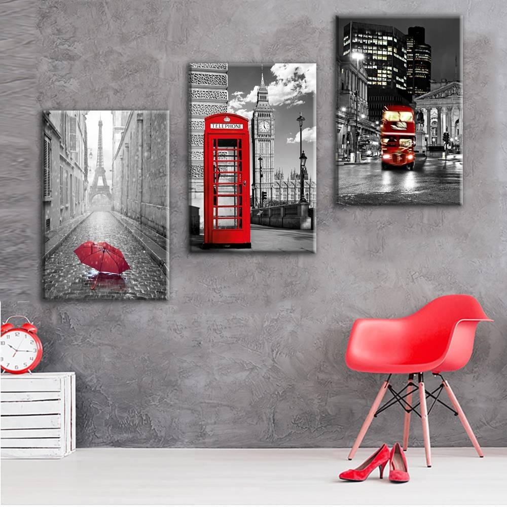 Paris Black And White With Eiffel Tower Red Car Umbrellas Wall Art With Most Recent Black And White Wall Art With Red (View 18 of 25)
