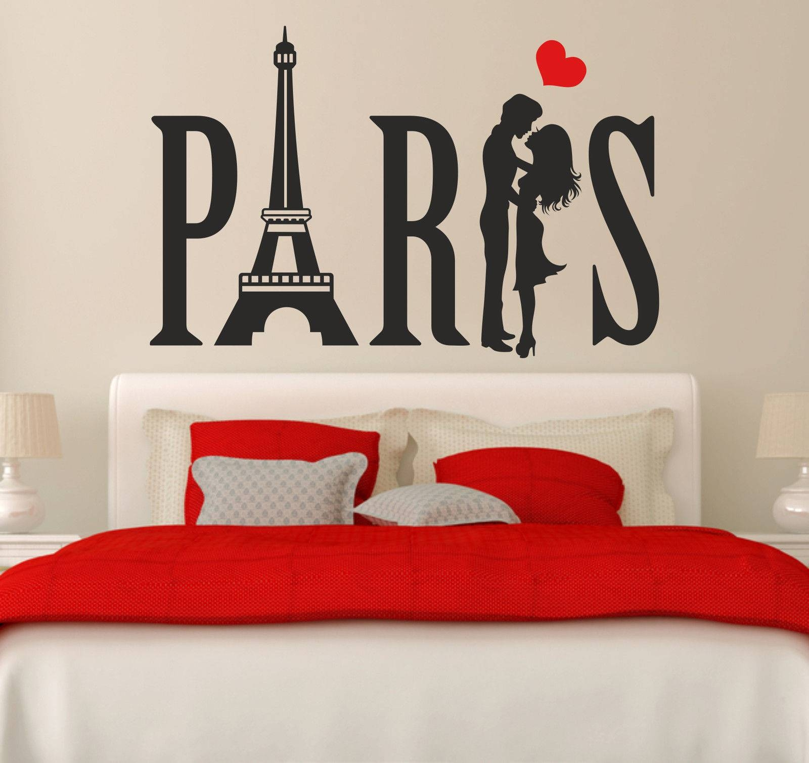 Paris Couple Eiffel Tower Love Heart Vinyl Wall Art Sticker Decal In 2017 Paris Vinyl Wall Art (View 12 of 20)