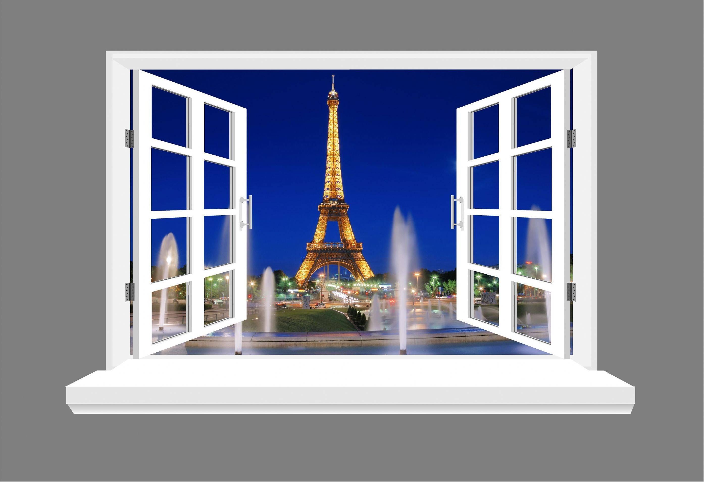 Paris Eiffel Tower 3D Window View Wall Art Sticker Throughout 2018 3D Wall Art Window (View 14 of 20)