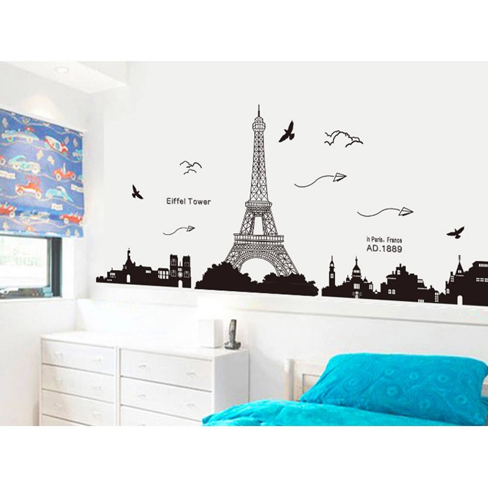 Paris Eiffel Tower Night View Beautiful Romantic Simple Black Diy With Regard To Most Up To Date Paris Stickers (View 14 of 15)