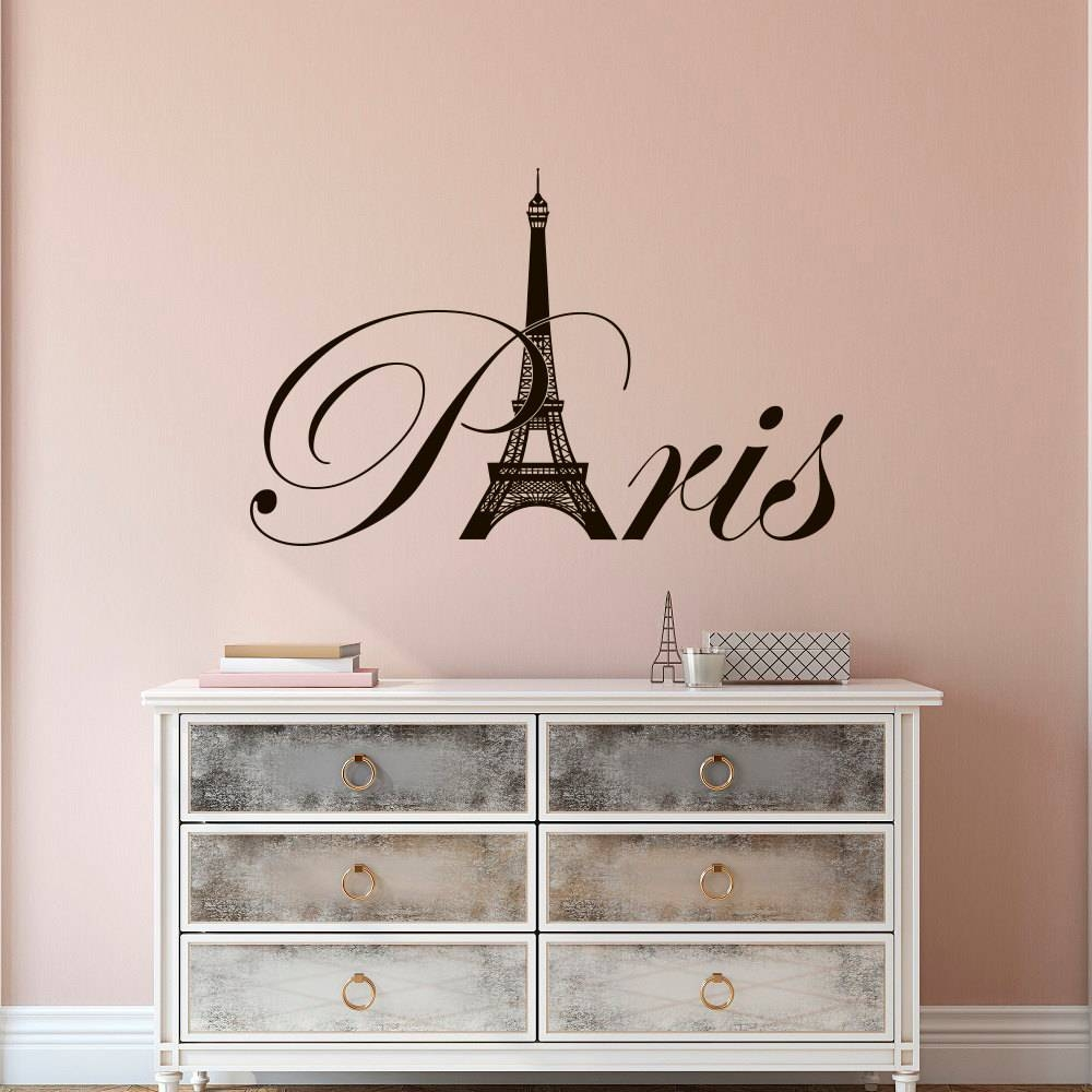 Paris Eiffel Tower Vinyl Wall Decal Paris Theme Bedroom Within Most Current Paris Themed Wall Art (View 13 of 20)