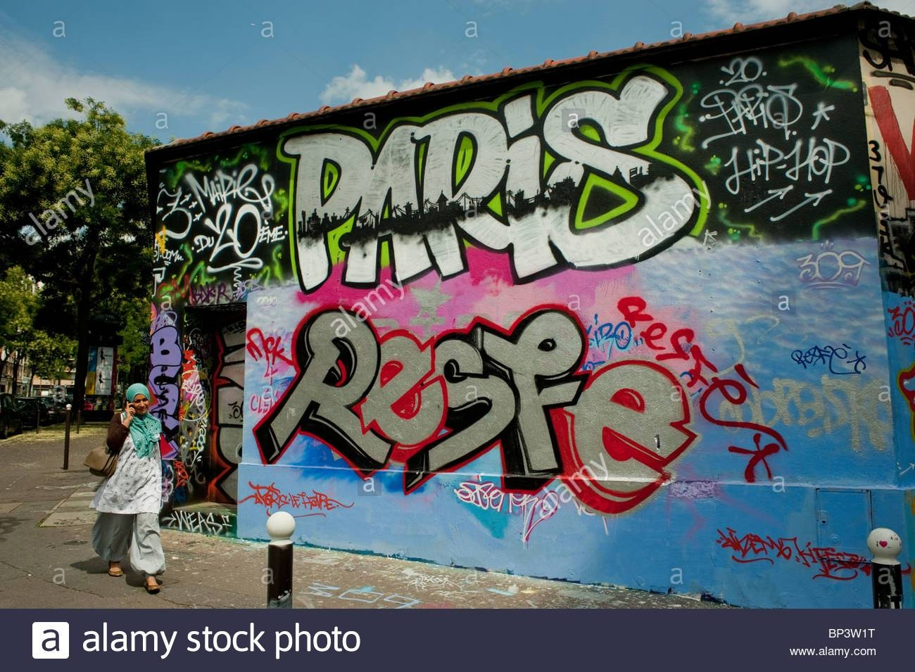 Paris, France, Street Scene, Arab Woman Walking, Painted Wall With Within 2018 Street Scene Wall Art (View 13 of 25)
