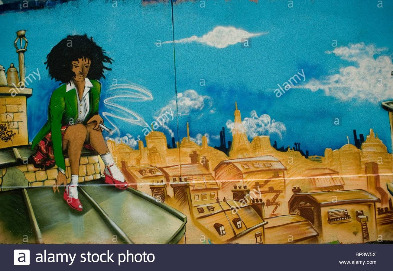 Paris, France, Street Scene, Painted Wall With Spray Paint Regarding Newest Street Scene Wall Art (View 24 of 25)