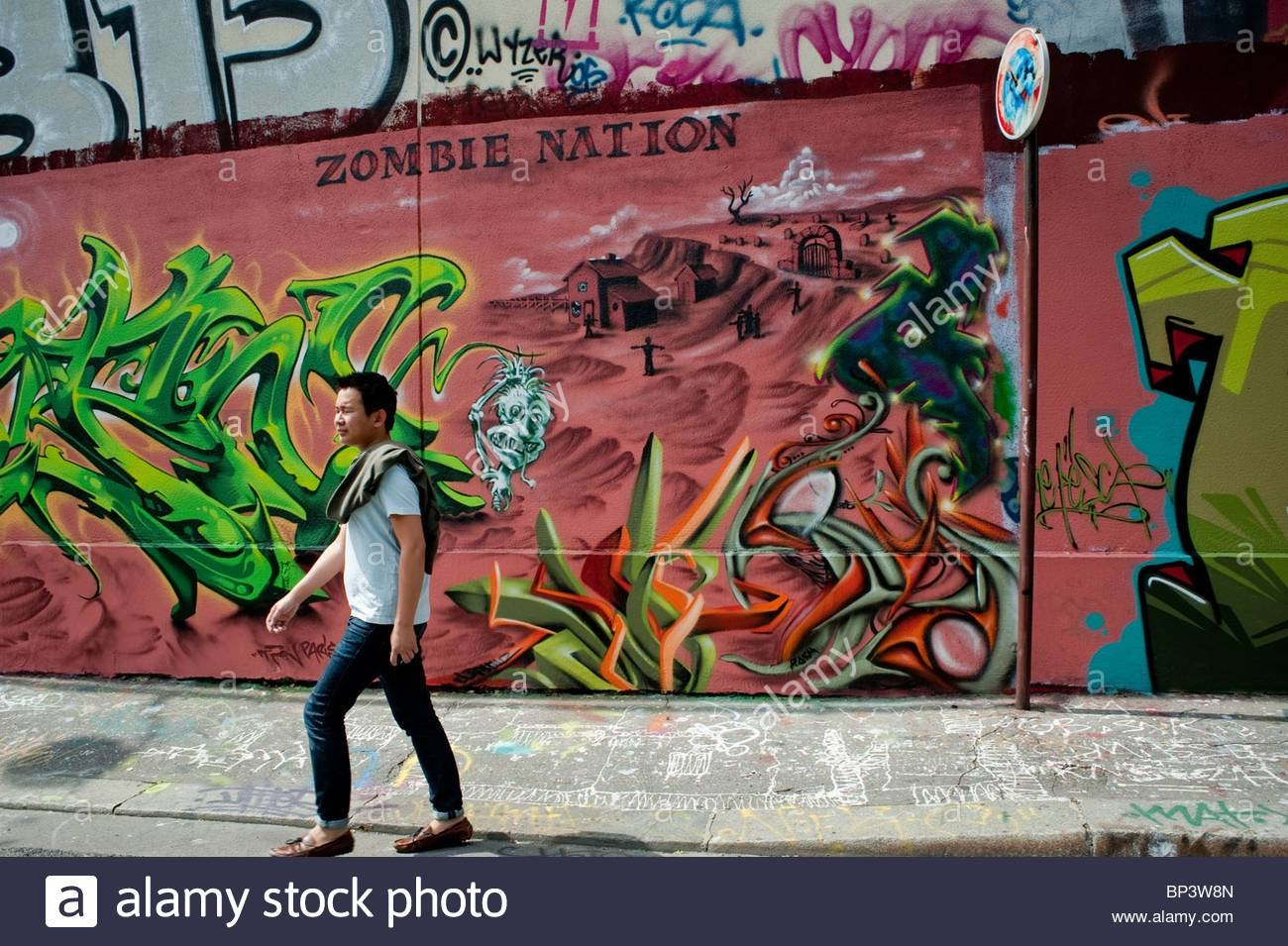 Paris, France, Street Scene, Young Male Walking, Painted Wall With Inside Recent Street Scene Wall Art (View 25 of 25)