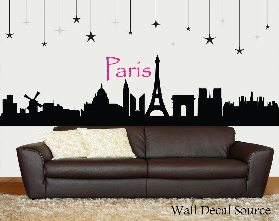 Paris Skyline Silhouette Wall Decal Paris Wall Art Eiffel Inside Most Recently Released Paris Themed Wall Art (View 14 of 20)