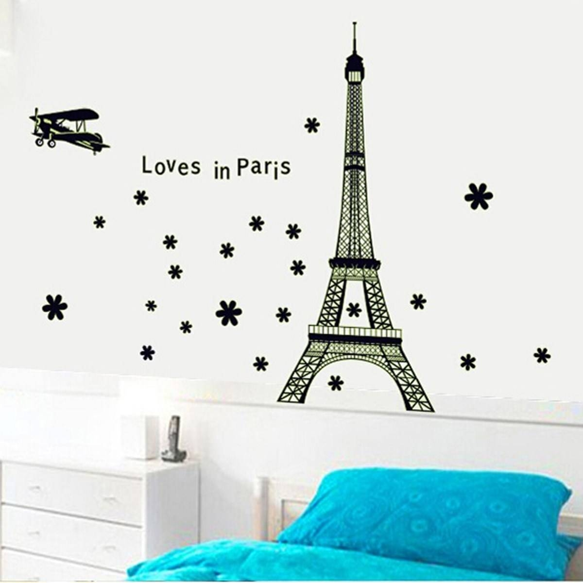 Paris Themed Bedroomcool Paris Themed Bedroom With Eiffel Tower Intended For Recent Paris Themed Stickers (View 11 of 15)