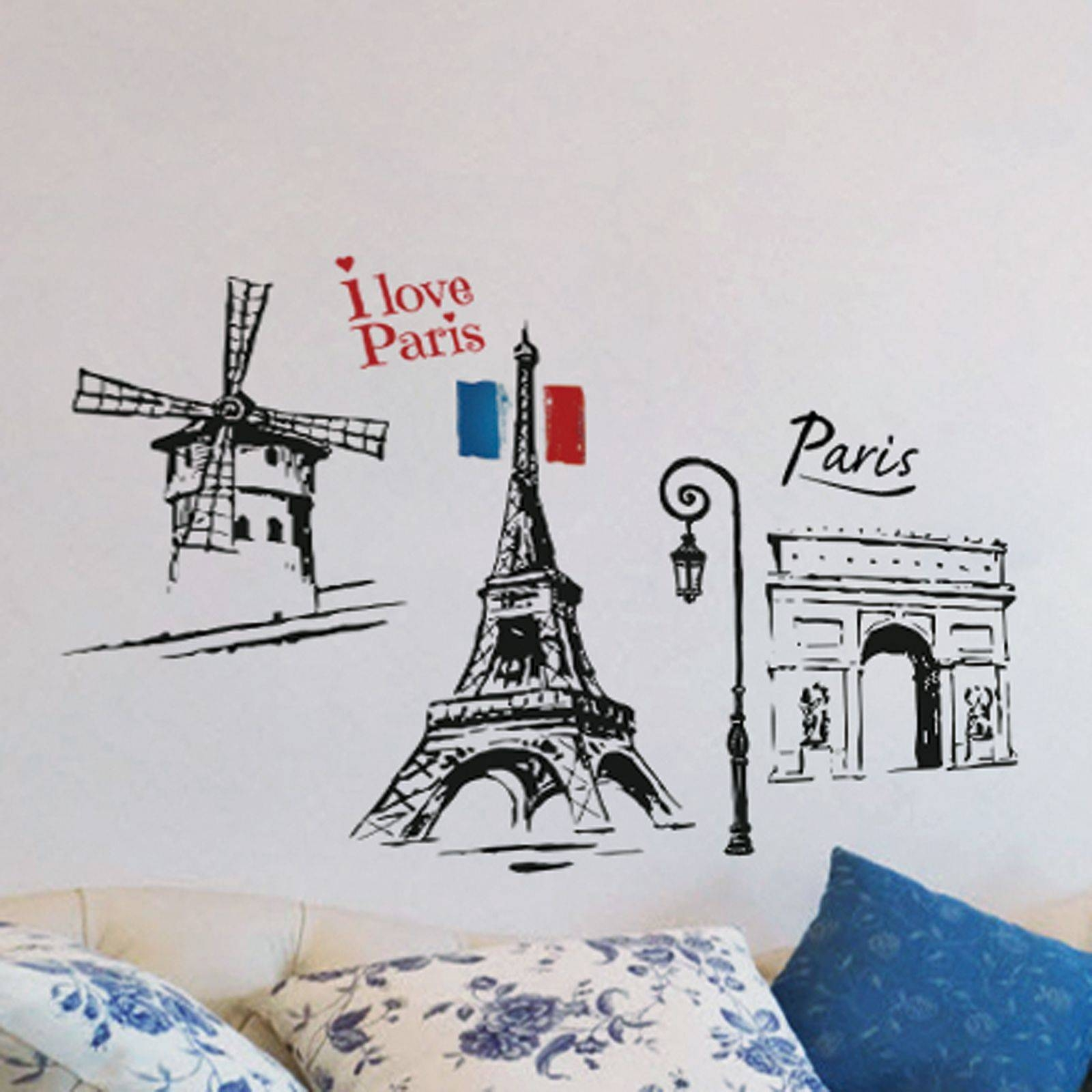 Paris Themed Bedroomcool Paris Themed Bedroom With Eiffel Tower Pertaining To Most Popular Paris Themed Stickers (View 12 of 15)