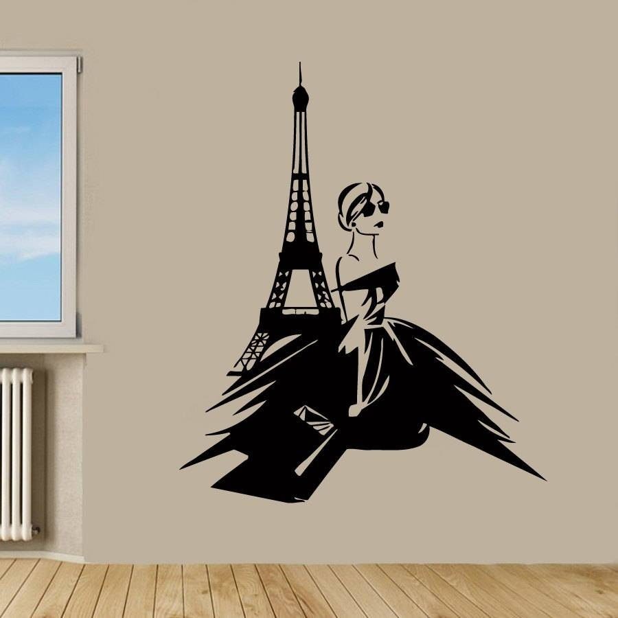 Paris Wall Decals Eiffel Tower Stickers Fashion Girl Beauty Inside Current Paris Vinyl Wall Art (View 10 of 20)