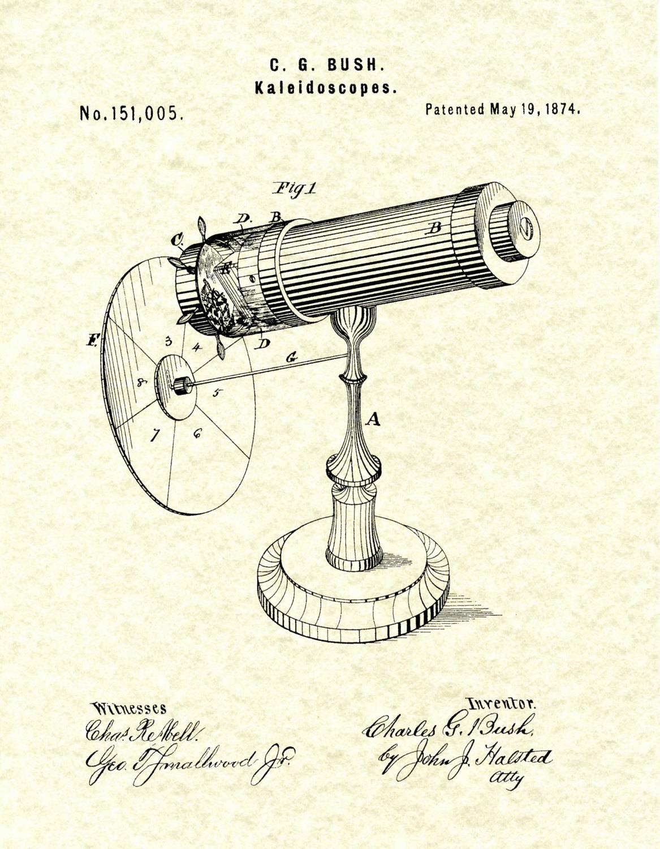 Patent 1874 Kaleidoscope Wall Art Print – Game Patent Toy – Early Pertaining To 2018 Kaleidoscope Wall Art (View 14 of 20)