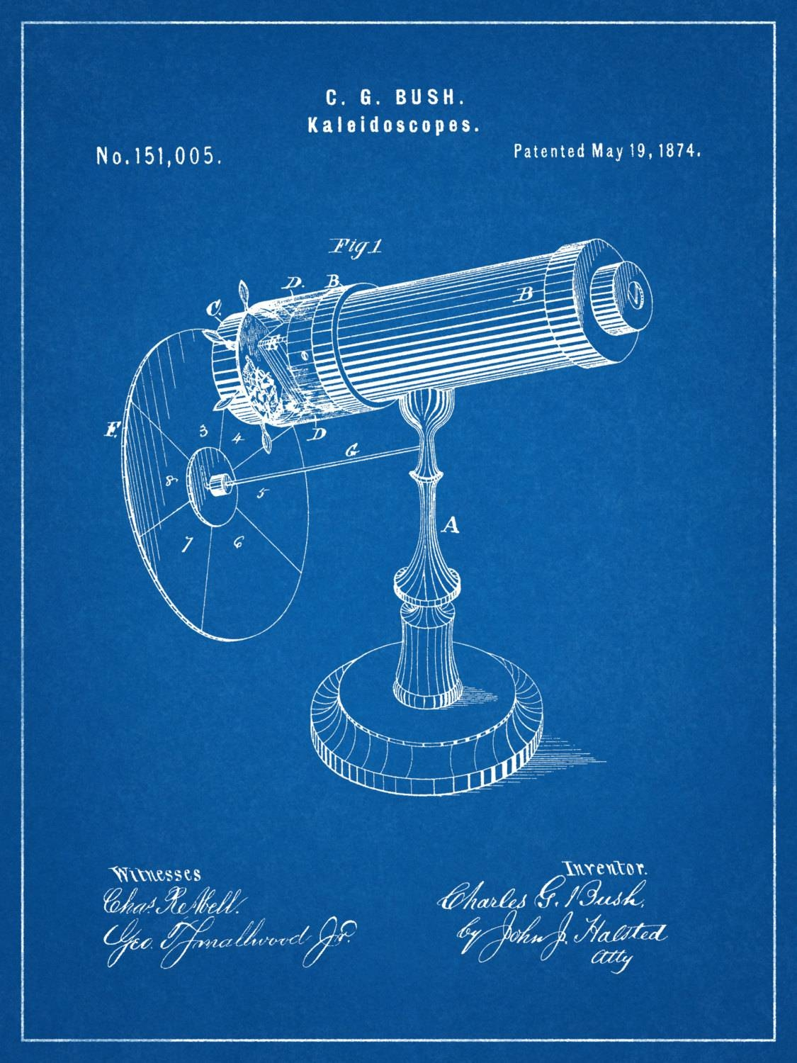 Patent 1874 Kaleidoscope Wall Art Print – Game Patent Toy – Early Pertaining To Most Current Kaleidoscope Wall Art (View 18 of 20)