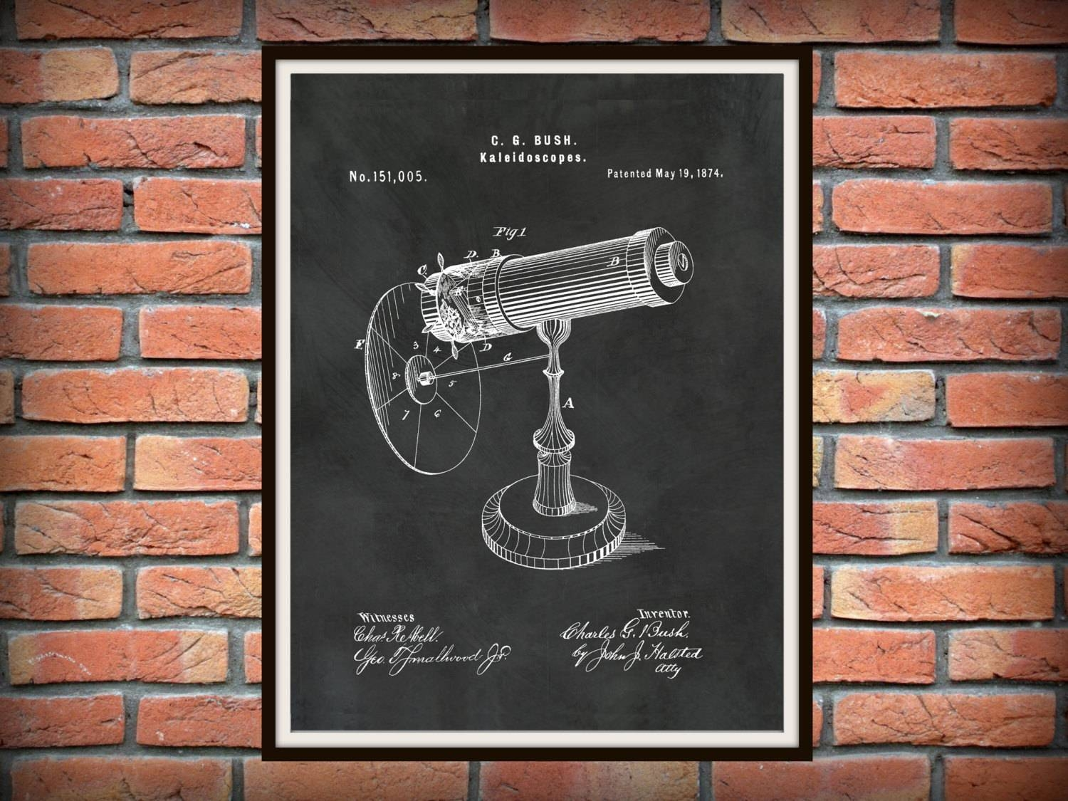 Patent 1874 Kaleidoscope Wall Art Print – Game Patent Toy – Early With Best And Newest Kaleidoscope Wall Art (View 11 of 20)