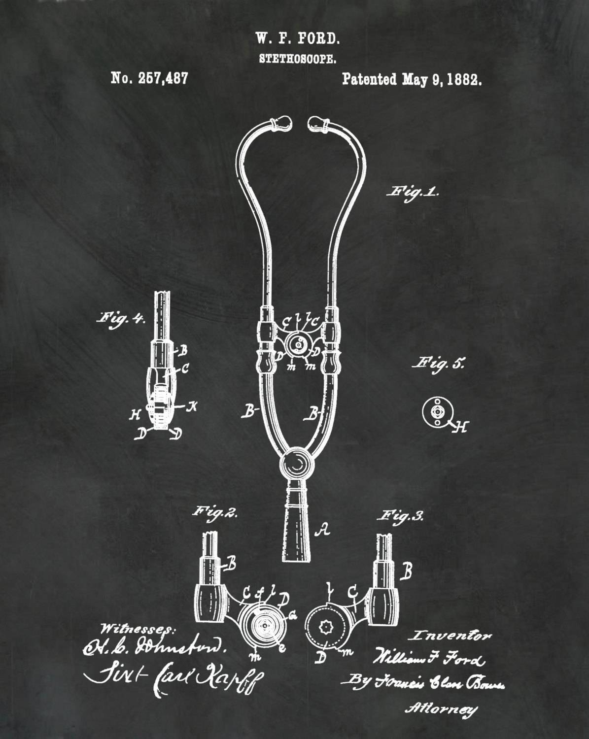 Patent 1882 Ford Stethoscope Art Print – Poster – Doctors Office For Most Popular Medical Wall Art (View 16 of 20)