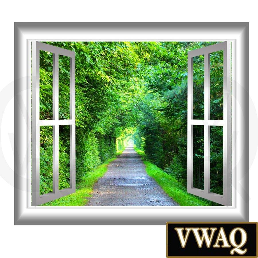 Peaceful Walking Path Window Frame 3d Wall Art Serene Trees And Regarding 2018 3d Wall Art Window (View 6 of 20)
