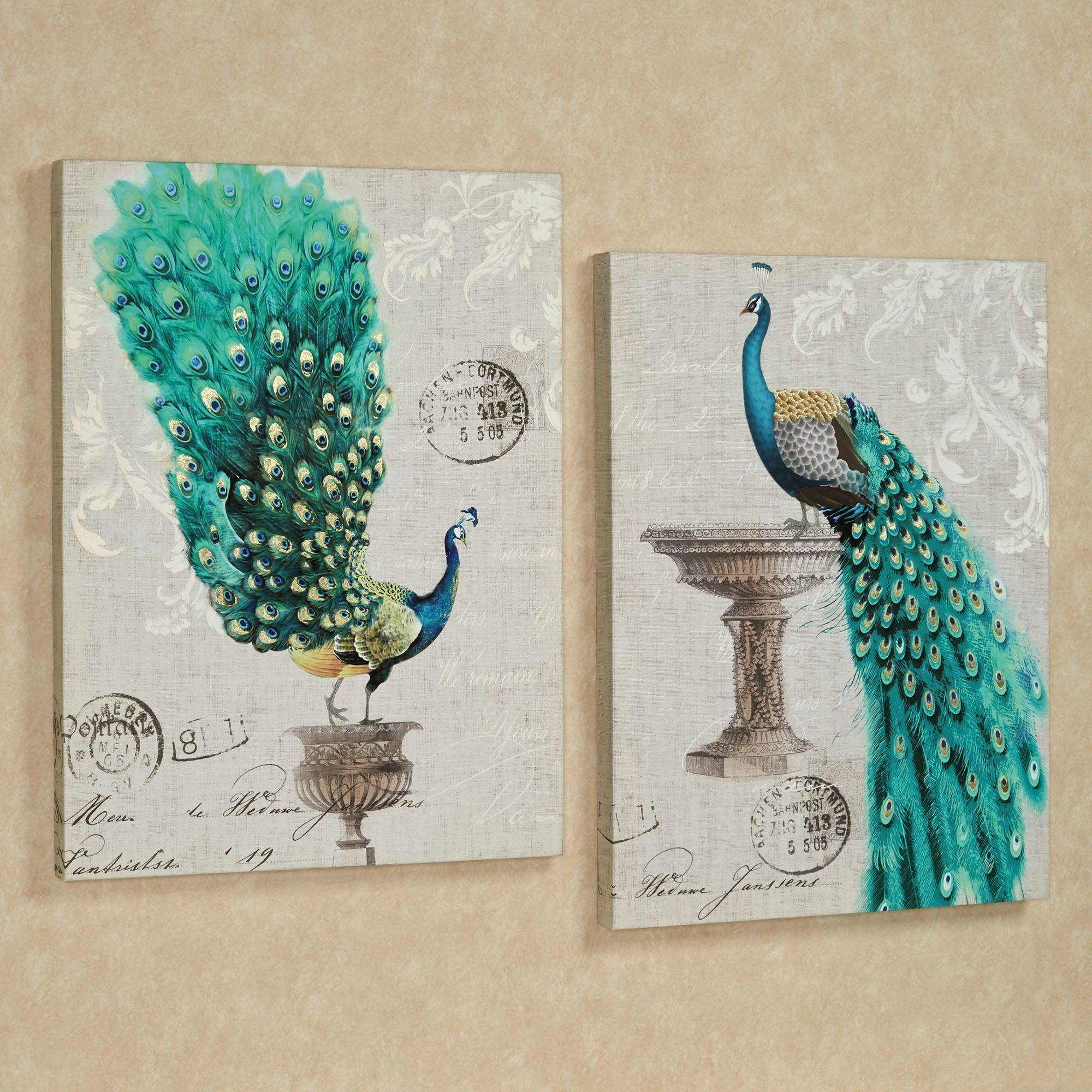 Peacock Fanfare Giclee Canvas Wall Art Set Within Recent Metal Peacock Wall Art (View 7 of 20)