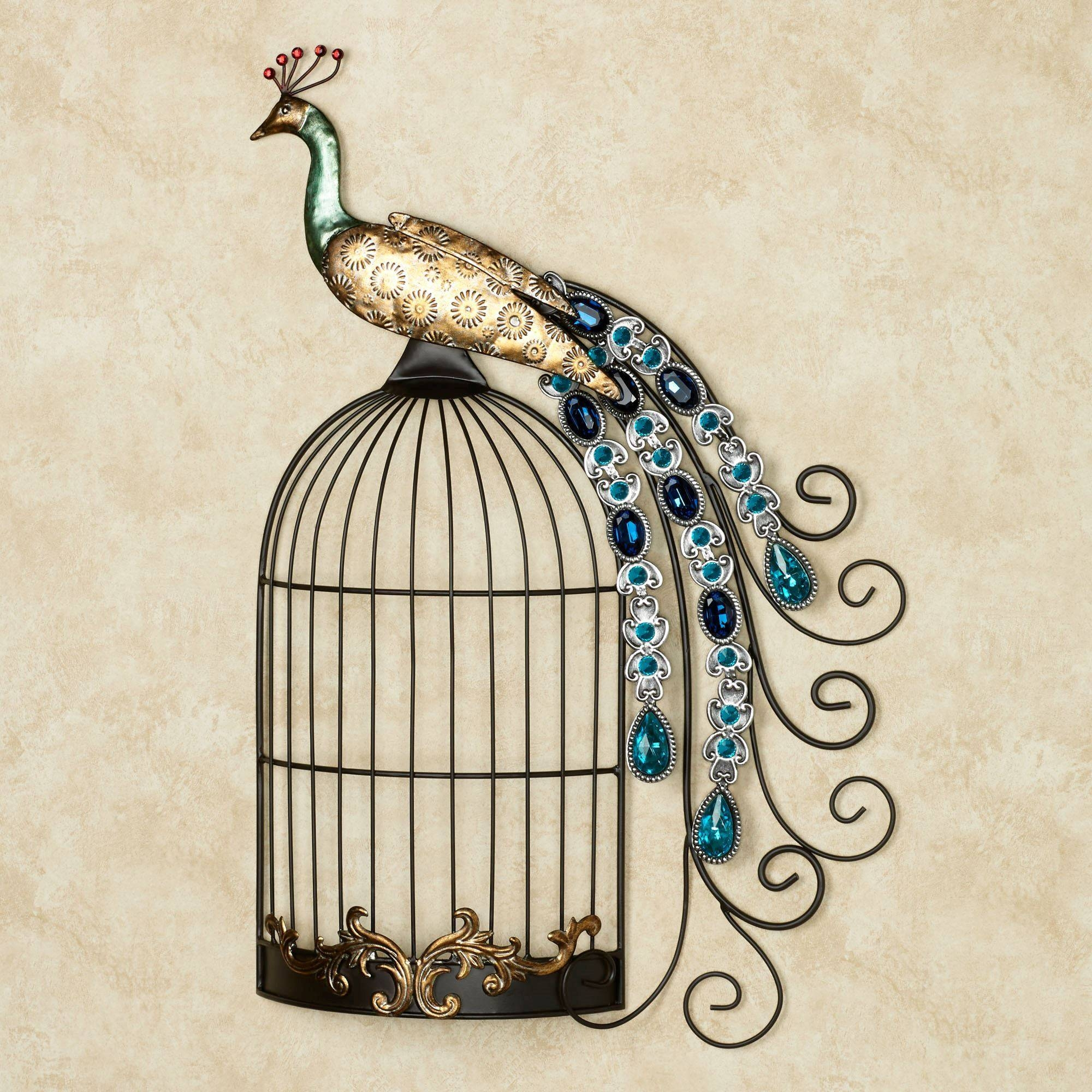 Peacock Jewels On Cage Metal Wall Art Throughout 2018 Metal Peacock Wall Art (View 9 of 20)