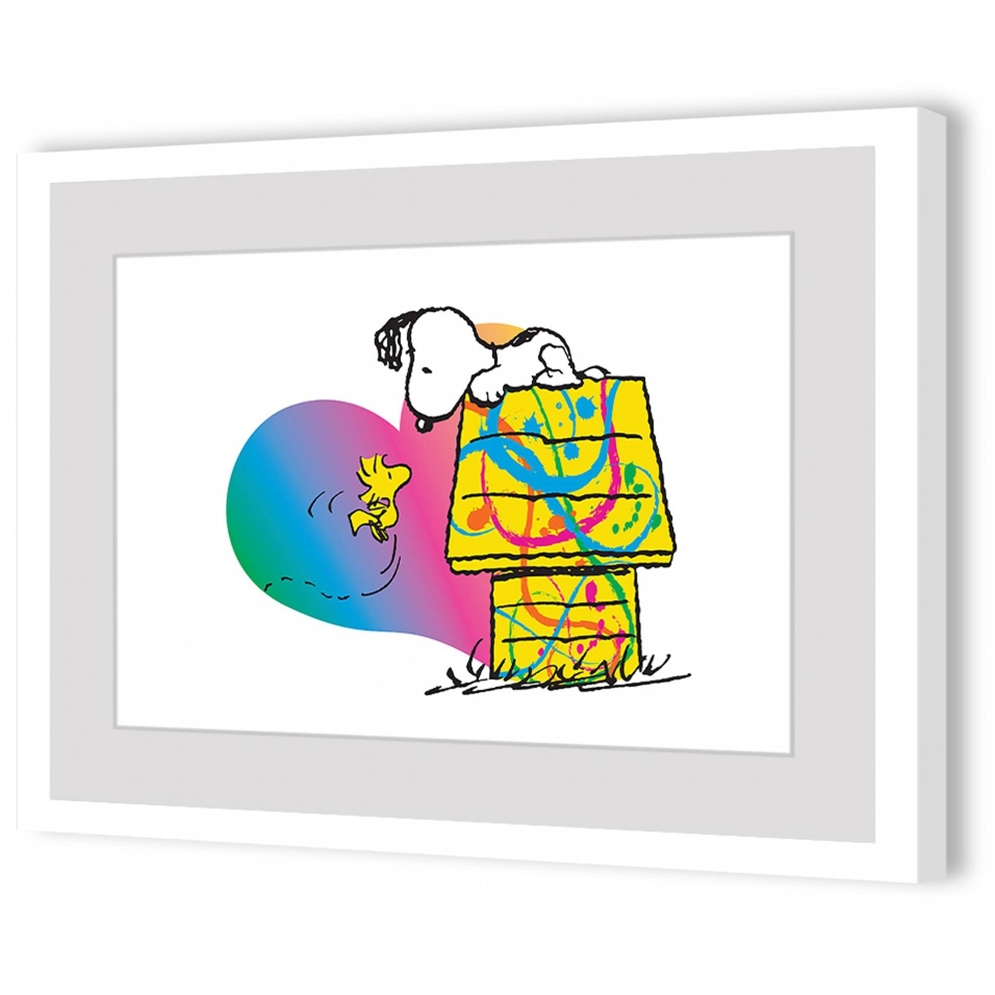 Peanuts Woodstock And Snoopy Rainbow Heart Framed Art Print With Latest Walmart Framed Art (View 17 of 20)