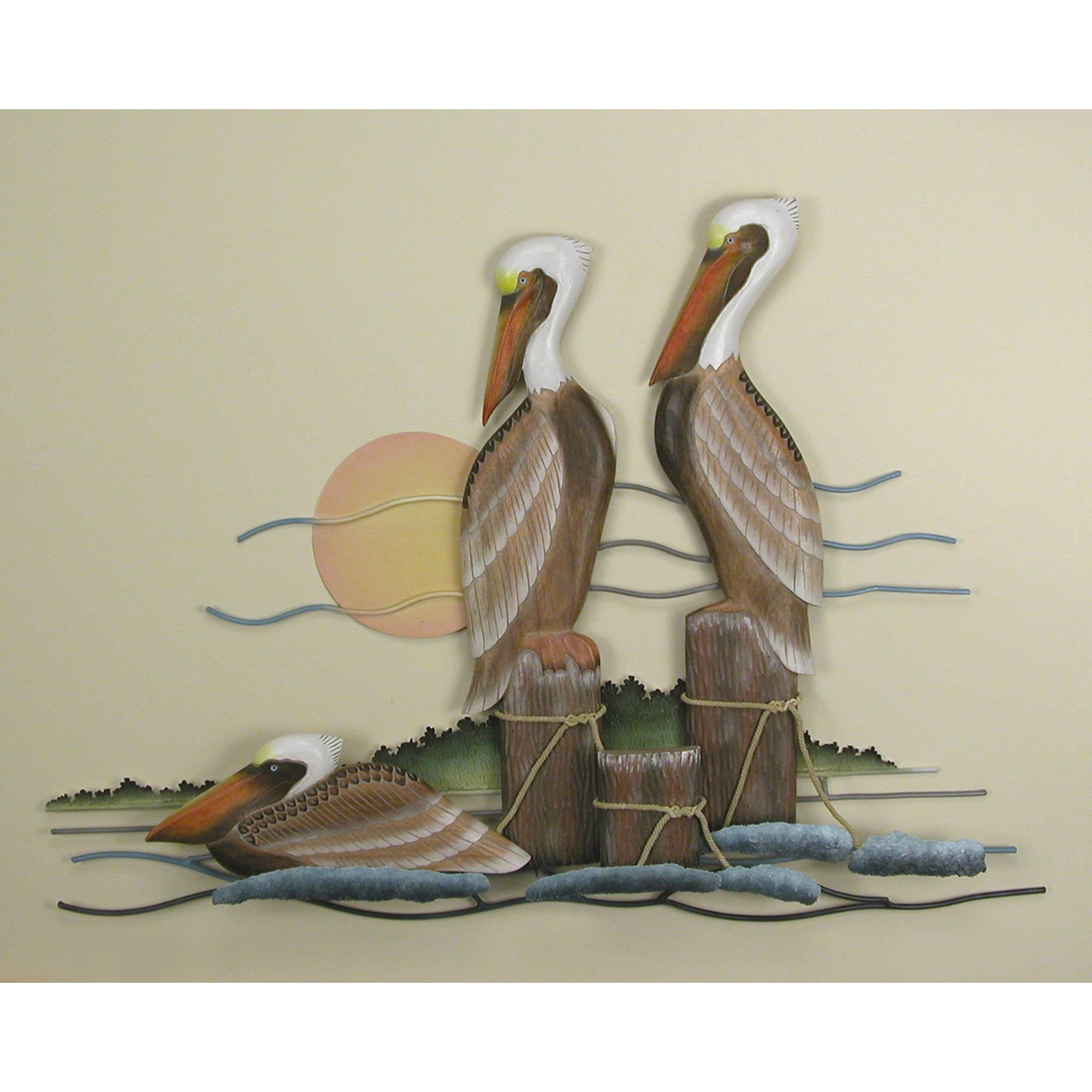 Pelican, Trio, Wall Art For 2017 Seaside Metal Wall Art (View 7 of 15)