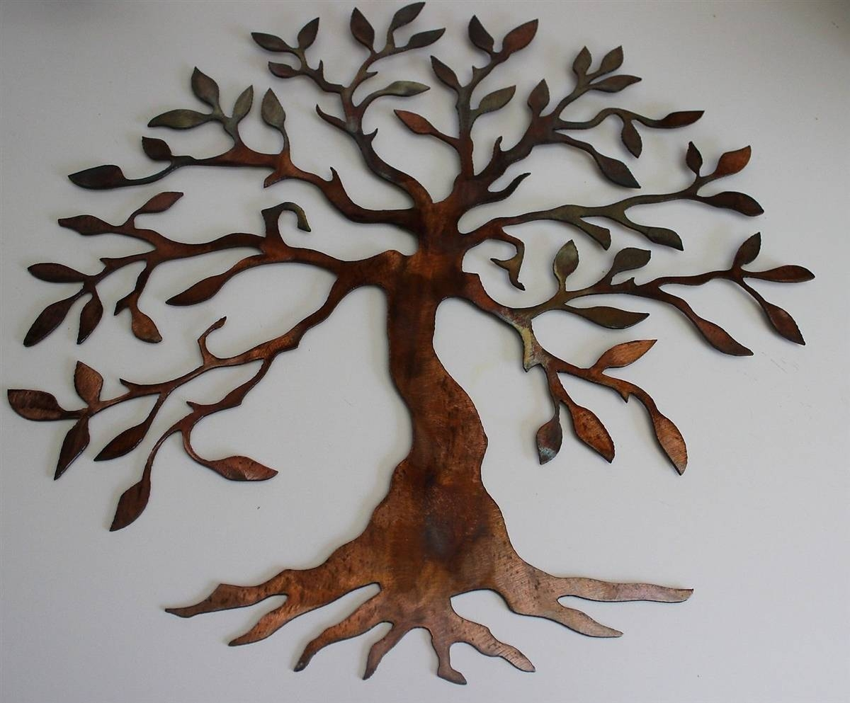 Perfect Decoration Small Metal Wall Art Nice Idea Regarding Most Por Oak Tree