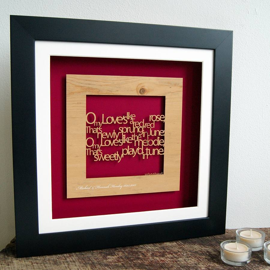 Personalised 'a Red Red Rose' Wall Arturban Twist Inside Latest Red Rose Wall Art (View 6 of 20)