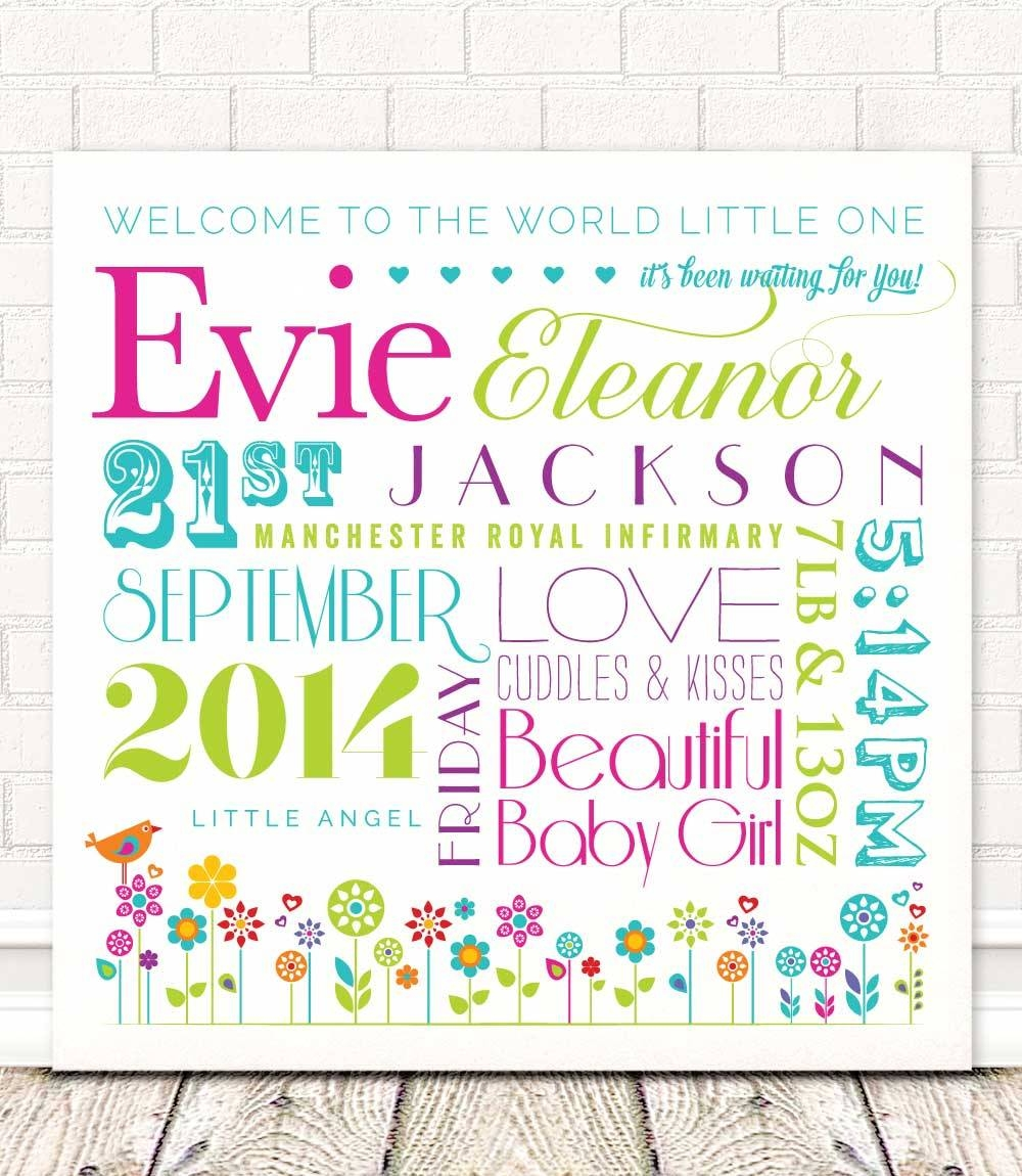 Personalised Baby Girl Wall Art | Welcome To The World! Within 2017 Little Girl Wall Art (View 17 of 20)