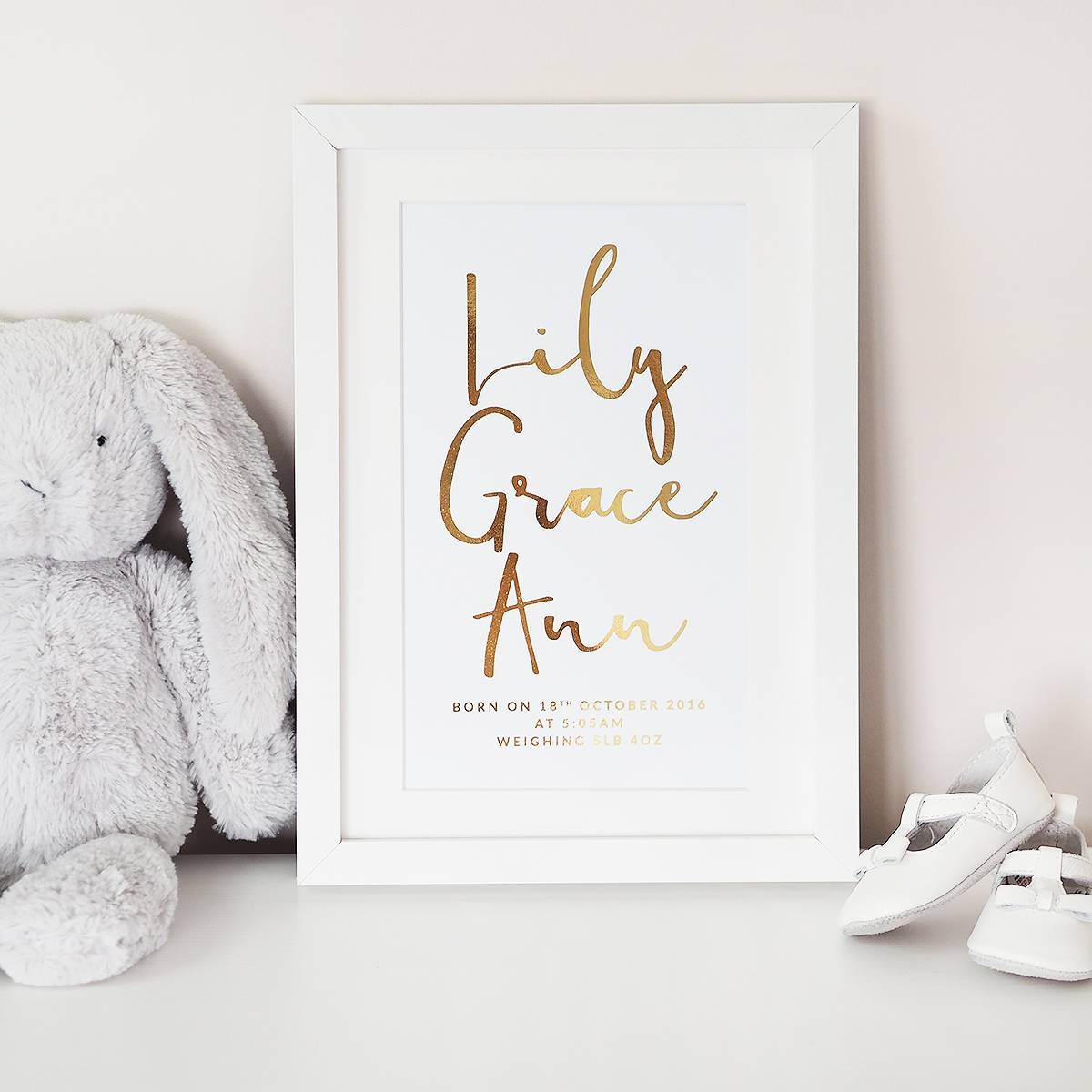 Personalised Baby Name Wall Art Foil Print – Lily Rose Co (View 18 of 25)